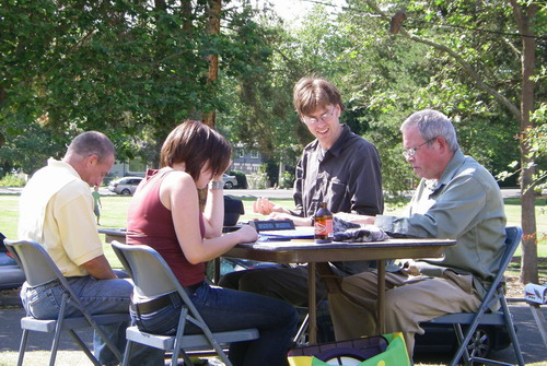 Scrabble in the sunshine: ScottM v. DanG and HilaryJ v. BobJ