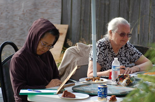 More Scrabble in the sun: MidoriH and AliceG